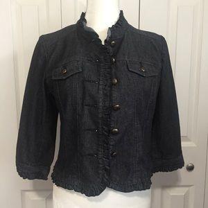 Sandro Ruffle Hem Denim Jacket 3/4 Sleeves Size S